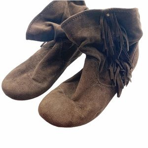 R2 Brown Fringe Faux Suede Ankle Boot Moccasin